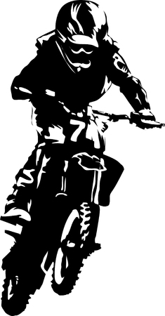 A silhouette of a motorcycle racer commits high jump; Stock Vector - 7491606