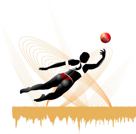 girl playing beach volleyball in yellow background  Vector