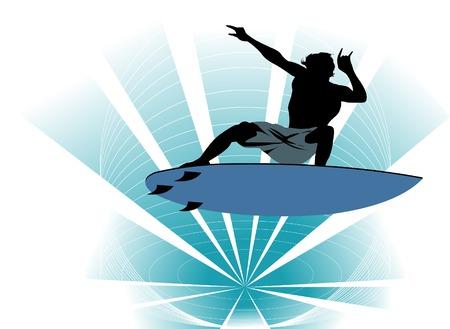 tide: El hombre en el tablero supera la marea alta;  Vectores