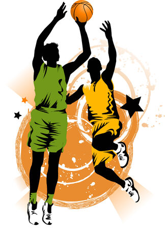dunk: player in basketball at the background of basketball rings  Illustration