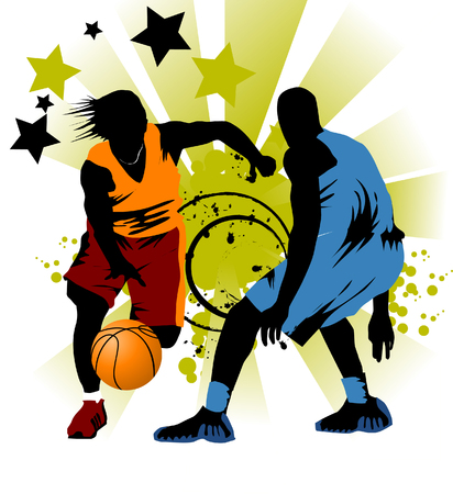 dribbling: player in basketball at the background of basketball rings  Illustration