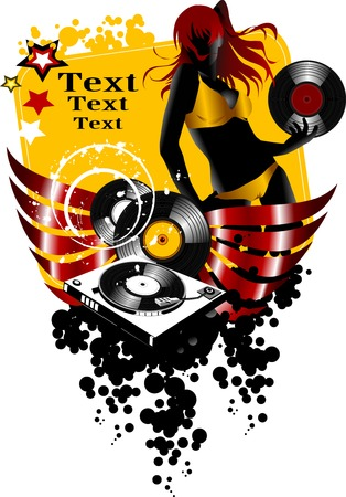 girl DJ spins vinyl disc on the music player;  Stock Vector - 7558681