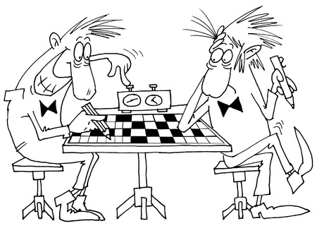 clack: clerks solve a crossword in lunch hour  Illustration