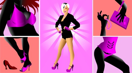 checkroom: Womens clothes on a pink background (vector illustration);  Illustration