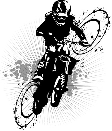 motocross race: A silhouette of a motorcycle racer commits high jump;  Illustration