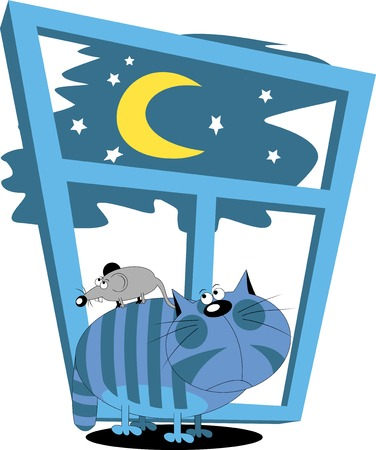 Cat and mouse look out the window at the moon;  Vector
