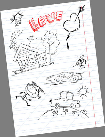 small house and a car drawn on notebook sheet Vector