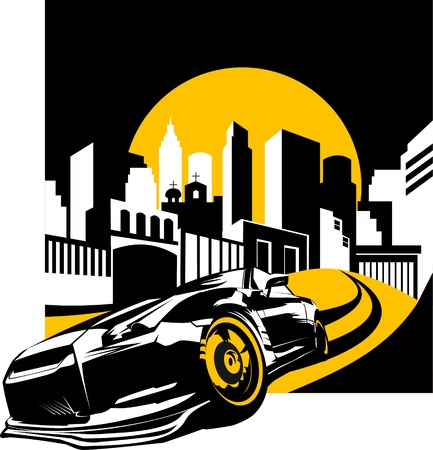 convertible car: Negro coche de deportes, listo para empezar a racing en la pista;