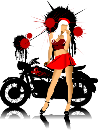 motor show: silhouette of a motorcycle and a pretty girl in red skirt;  Illustration