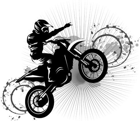 motorrad frau: Eine Silhouette von ein Motorradrennfahrer verpflichtet Hochsprung;