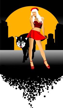 loup garou: illustration hurlement Loup sauvage (chien) sous la lune,  Illustration