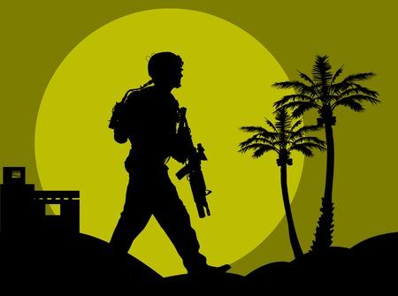 silhouette soldat: soldat va sur une reconnaissance de nuit dans le d�sert.