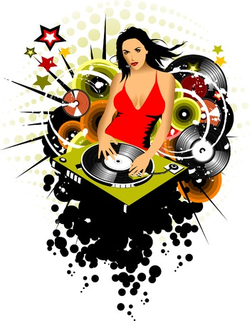 girl DJ spins vinyl disc on the music player;  Vector