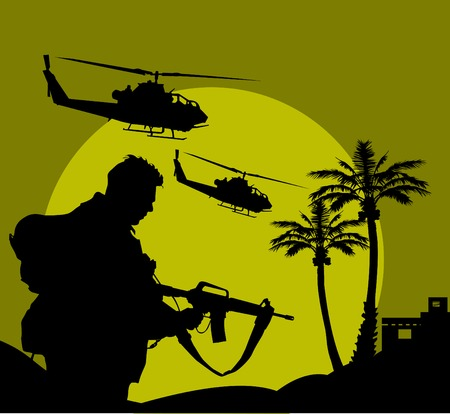 the air attack: soldier goes on a night reconnaissance in the desert;  Illustration