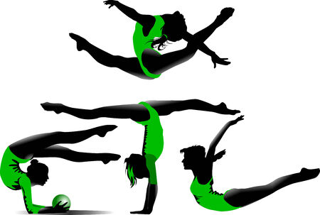 gymnastics sports: four gymnasts in green bikinis perform various exercises;  Illustration