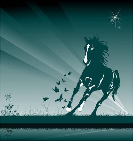 A horse gallops through the night among a field of butterflies;  Vector