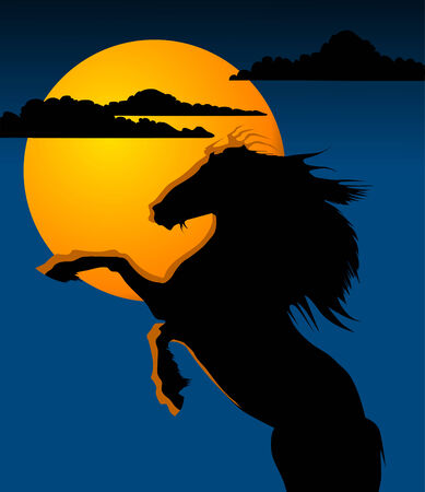 hoofed animal: caballo negro contra una luna amarilla  Vectores