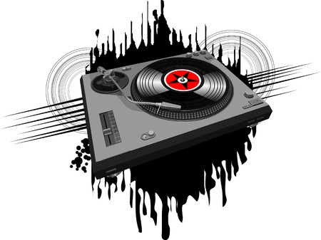 Music poster halftone design with DJ record player;  Vector