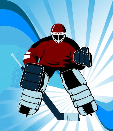 Hockey goalkeeper is there to protect the gate; Stock Vector - 8089445
