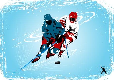 hockey sobre hielo: Jugador de hockey sobre hielo hace un fuerte disparo sobre la meta rival;