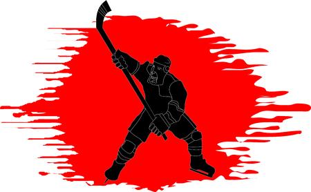 hockey goalie: Hockey player makes a strong shot on goal rival;