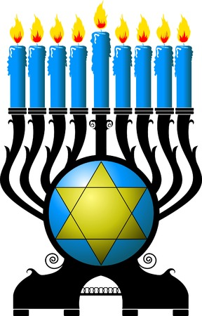 shalom: Chanukah candle with blue candles on a black pedestal;  Illustration