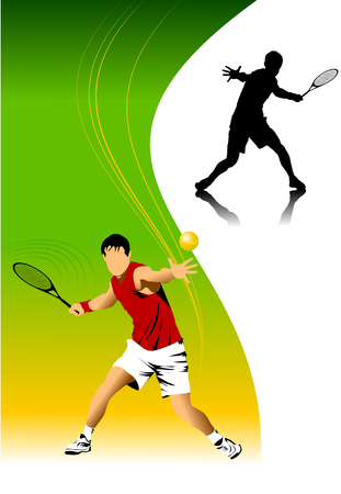 tennis player in red on a green background racket strikes the ball;