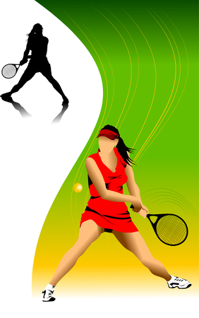 tennis serve: tennis player in red on a green background racket strikes the ball;  Illustration