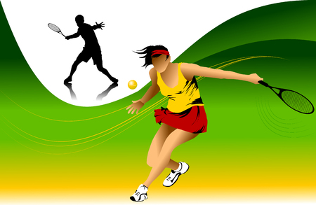 tennis player in yellow on a green background racket strikes the ball;