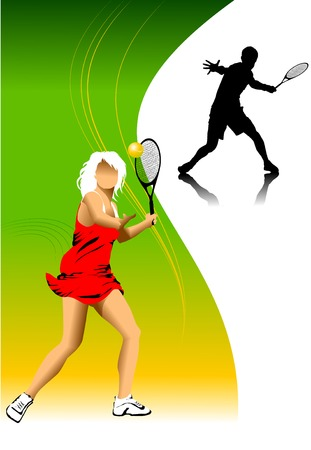 tennis player in red on a green background racket strikes the ball;  Vector
