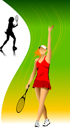 tennis player in red on a green background racket strikes the ball Vector