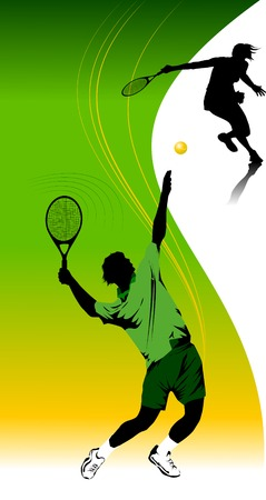 tennis serve: tennis player in green on a green background racket strikes the ball;