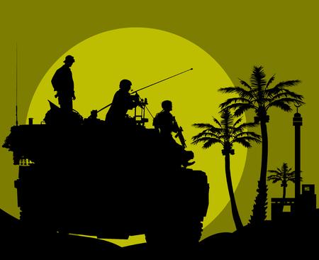 Comandante de tanque controla la lucha contra el fuego;
