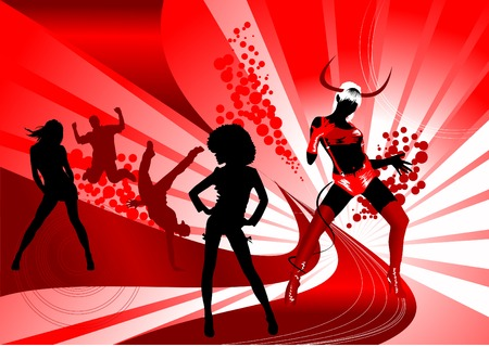 hip hop dance: Party at a nightclub decorated in red (illustration),  Illustration