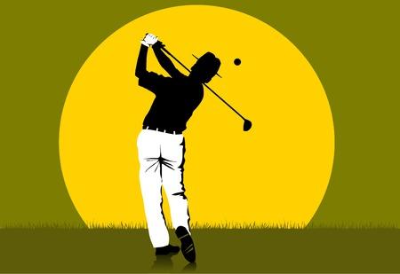 golfeur a frapper la balle (illustration vectorielle).  Vecteurs