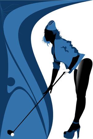 golfing: golfer has hit the ball (vector illustration);  Illustration