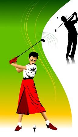 caddy: golfer has hit the ball (vector illustration);  Illustration