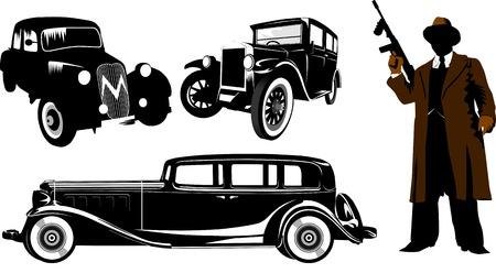 Gángster con una pistola Thompson y el coche retro negra; Chicago; americano; negro;