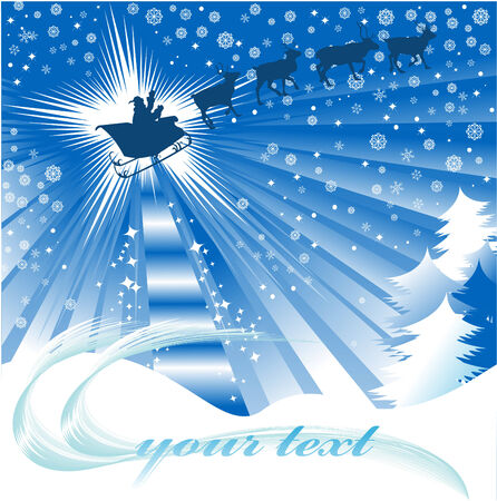 degraded: Illustration for Christmas and New Year. Santa Claus. Bag with gifts. Vector;  Illustration
