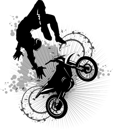 A silhouette of a motorcycle racer commits high jump;  Stock Vector - 8402512