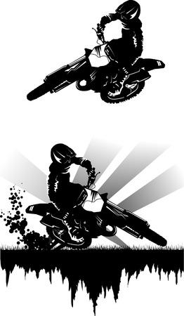 Una silhouette di un motociclista esegue il commit di salto in alto;