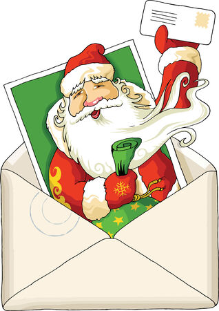 letter from santa: Ilustration for Christmas and New Year. Santa Claus. Bag with gifts