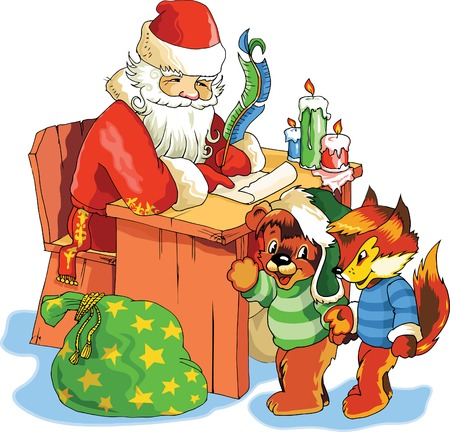 letter from santa: Ilustration for Christmas and New Year. Santa Claus. Bag with gifts.