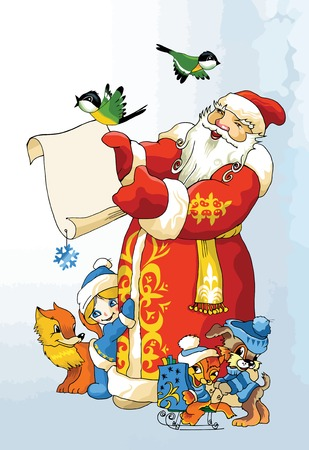 degraded: Ilustration for Christmas and New Year. Santa Claus. Bag with gifts
