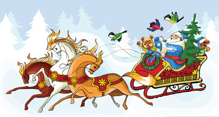 klaus: Ilustration for Christmas and New Year. Santa Claus. Bag with gifts