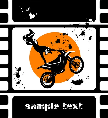 commits: A silhouette of a motorcycle racer commits high jump;  Illustration