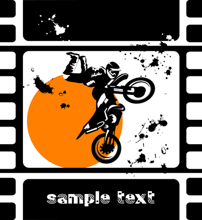 motor show: A silhouette of a motorcycle racer commits high jump;