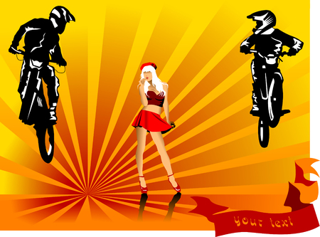 motor show: A silhouette of a motorcycle racer commits high jump;  Illustration