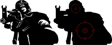 A terrorist in a mask shoots a machine gun  Stock Vector - 8558466