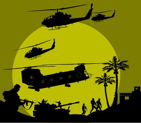 snajper: żołnierz przejdzie w night reconnaissance na pustyni;  Ilustracja